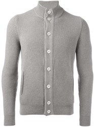 Barba Ribbed High Neck Cardigan Grey