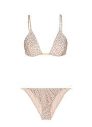 Zimmermann 'Valour Tri Bar' Leopard Print Triangle Bikini Set Pink Animal Print