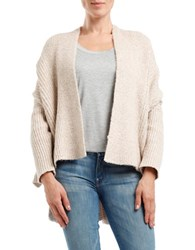 Three Dots Ribbed High Low Cardigan Beige