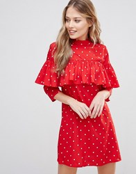Influence Ruffle Front High Neck Shift Dress Red