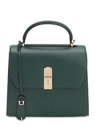 Salvatore Ferragamo Lg Boxyz Smooth Leather Top Handle Bag Pine