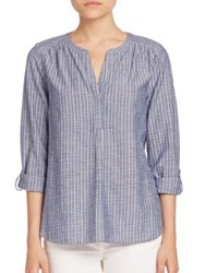 Joie Striped Roll Up Sleeve Tunic Sailor Blue