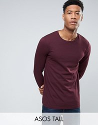 Asos Tall Long Sleeve T Shirt With Crew Neck Oxblood Red