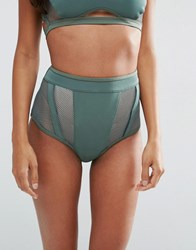 Asos Neoprene Fishnet Insert Panel High Waist Bikini Pant Khaki Green