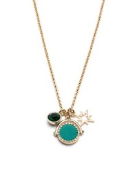 Ivanka Trump Wise Words Crystal Charm Pendant Necklace Teal