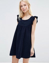 Qed London Corduroy Shift Dress With Frill Sleeve Navy
