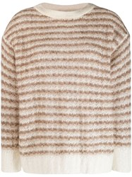 Theory Striped Knit Sweater Brown