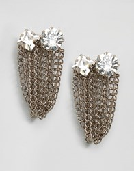 Asos Limited Edition Occasion Jewel Chain Earrings Crystal Rhodium Silver