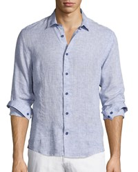 Orlebar Brown Morton Long Sleeve Linen Shirt Navy