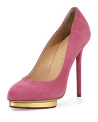Dotty Suede Platform Pump Cocktail Pink Charlotte Olympia