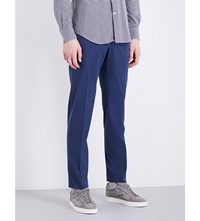 Slowear Slim Fit Tapered Stretch Cotton Trousers Blue