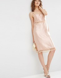 Asos Satin Slip Cami Dress With Mesh Inserts Nude Pink