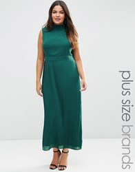 Lovedrobe Plus Maxi Dress With Pleated Skirt Emerald Navy