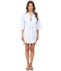 Stella Mccartney Crochet Shirt Cover Up Blue Chambray Women's Swimwear