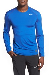 Men's Nike 'Pro Cool Compression' Fitted Long Sleeve Dri Fit T Shirt Game Royal Royal Blue White