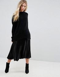B.Young Pleated Skirt Black