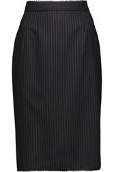 Dolce And Gabbana Fringe Trimmed Striped Wool Skirt Charcoal