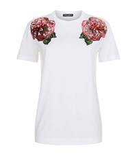 Dolce And Gabbana Rose Embellished T Shirt Female White