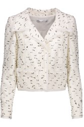 Oscar De La Renta Boucle Tweed Jacket White