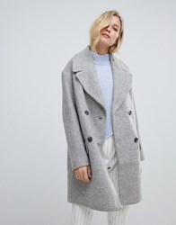 Oasis Double Breasted Tailored Coat In Grey