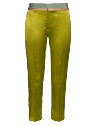 Haider Ackermann Iteso Contrasting Waist Silk Cropped Trousers Yellow