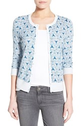 Petite Women's Halogen Three Quarter Sleeve Cardigan Blue Star Geo Print