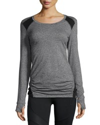 Marc New York Drawstring Hem Long Sleeve Tee Lt Gry Htr