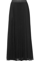 Enza Costa Pleated Chiffon Maxi Skirt Black