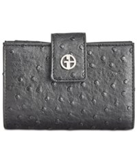 Giani Bernini Ostrich Embossed Frame Wallet Created For Macy's Black
