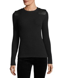 Ralph Lauren Ribbed Knit Leather Trim Cashmere Sweater Black