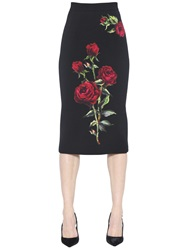 Dolce And Gabbana Rose Patches Double Crepe Pencil Skirt Black Red