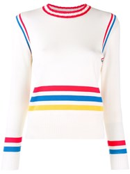 Chinti And Parker Striped Colour Block Sweater White
