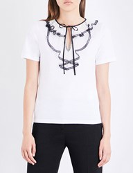 Red Valentino Lace Embellished Cotton Jersey T Shirt Bianco
