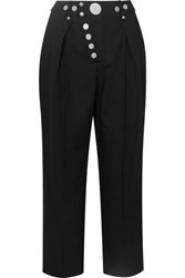 Alexander Wang Embellished Pleated Twill Straight Leg Pants Black