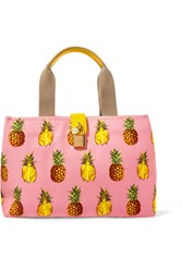 Dolce And Gabbana Leather Trimmed Printed Canvas Tote Pink