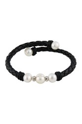 Braided Black Leather 8 9Mm Cultured Freshwater Pearl Bracelet White