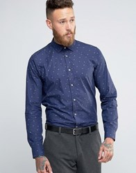 Ted Baker Shirt With All Over Print In Regular Fit Navy