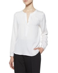 Milly Tessa Long Sleeve Silk Blouse White