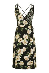 Topshop Petite Busy Garden Wrap Dress Black