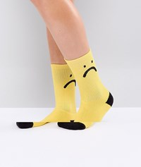 Lazy Oaf Sorry I'm Late Sock Yellow