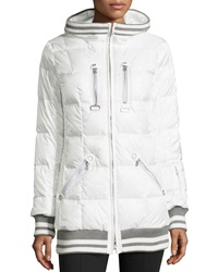 Bogner Muria Striped Trim Hooded Puffer Jacket Off White