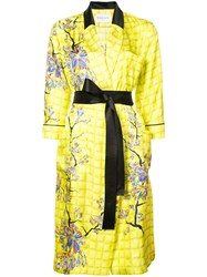 Vionnet Long Belted Blossom Coat Yellow And Orange