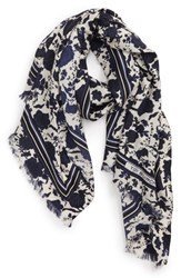 Tory Burch Happy Times Floral Silk Scarf Neutral Happy Times