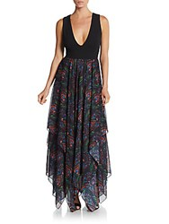 Alice Olivia Cait Handkerchief Hem Dress Ombre Black