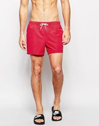Asos Short Length Swim Shorts In Red Red