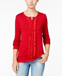 Tommy Hilfiger Kelly Ruffled Cardigan Only At Macy's Chili Pepper