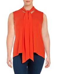 Vince Camuto Plus Tie Neck Sleeveless Blouse Red