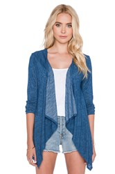Velvet By Graham And Spencer Dayo Sheer Texture Knit Cardigan Blue
