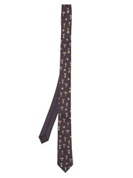 Valentino Medal Embroidered Silk Tie Navy Multi