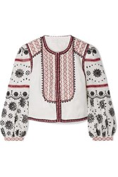 Veronica Beard Shilin Embellished Broderie Anglaise Linen Jacket White